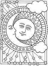Shine Sun Sundial Printable Coloring Moon Stars sketch template