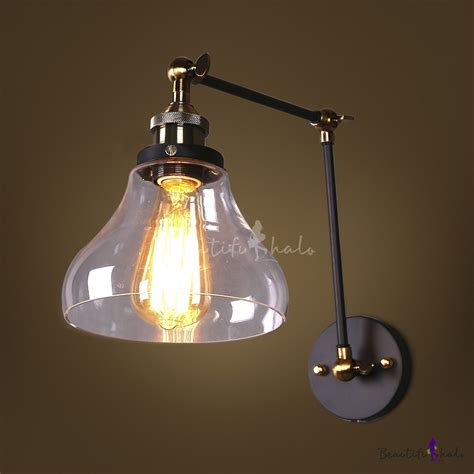 Glass Shades For Wall Sconces - traditional clear glass shade 1 light industrial wall