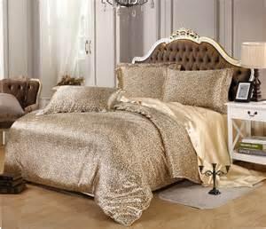 bedding set luxury silk leopard design duvet cover set