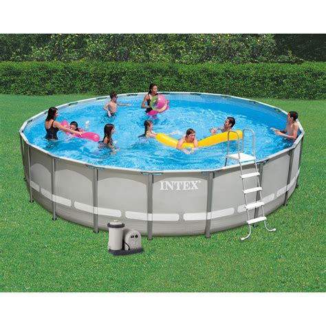 intex 24 x 52 quot ultra frame above ground swimming pool set with filter ebay