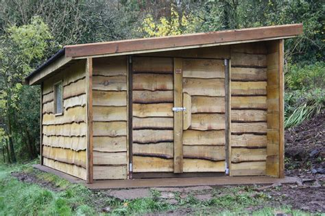 waney edge rustic shed  wooden workshop oakford