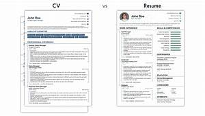 cv vs resume what is the difference examples With cv and resume