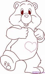How to Draw a Care Bear, Tenderheart Bear, Step by Step ...