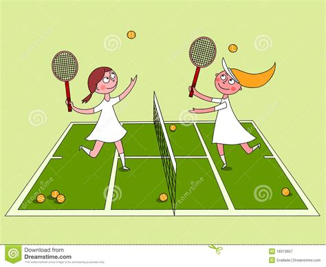 girls playing tennis royalty  stock photography image