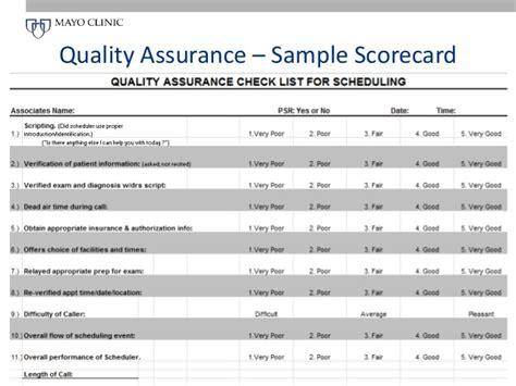 Call Center Quality Assurance Scorecard