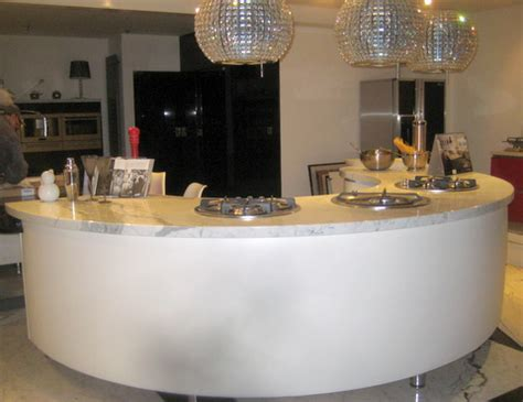 display white curved kitchen breakfast bar  granite worktops