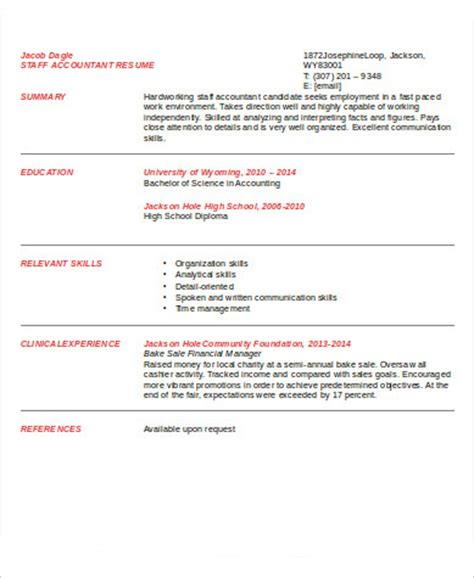Entry Level Accounting Resume by Sle Staff Accountant Resume 9 Exles In Word Pdf