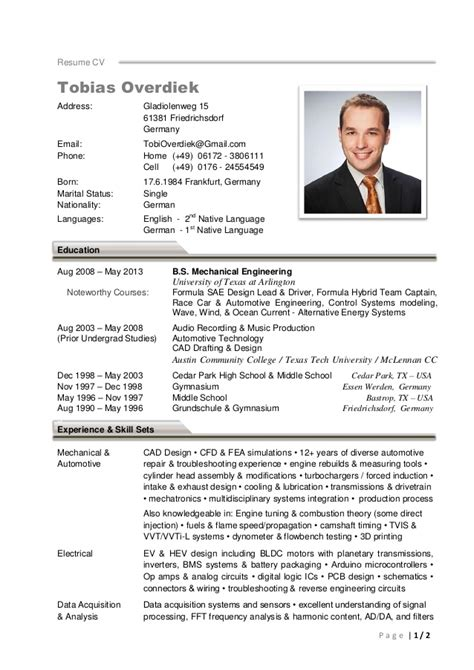 German Resume Photo Size by Tobias Overdiek Cv Resume 2016 V1