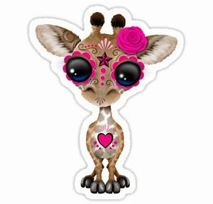 """Pink Day of the Dead Sugar Skull Baby Giraffe"" Stickers"