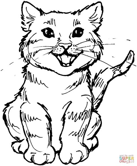 meowing kitten coloring page  printable coloring pages