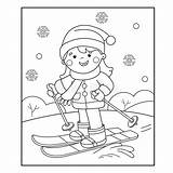 Skiing Cartoon Coloring Winter Sports Outline Clipart Dreamstime Illustrations Vectors sketch template