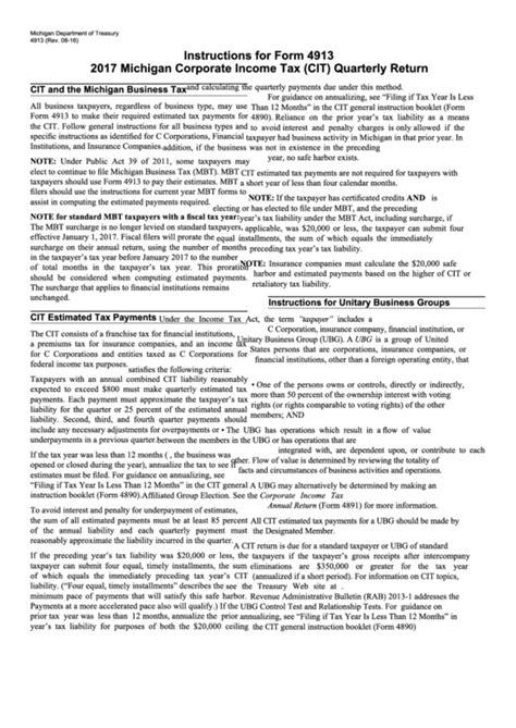 for form 4913 michigan corporate income tax