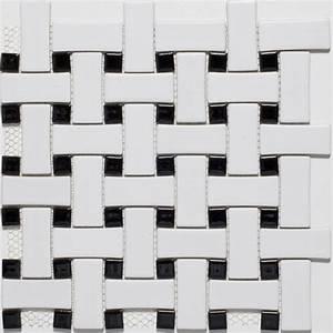 Ceramic White/ Black Basketweave Mosaic Tiles ...