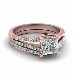 Princess cut diamond wedding ring set in 18k rose gold for Rose gold diamond wedding ring set
