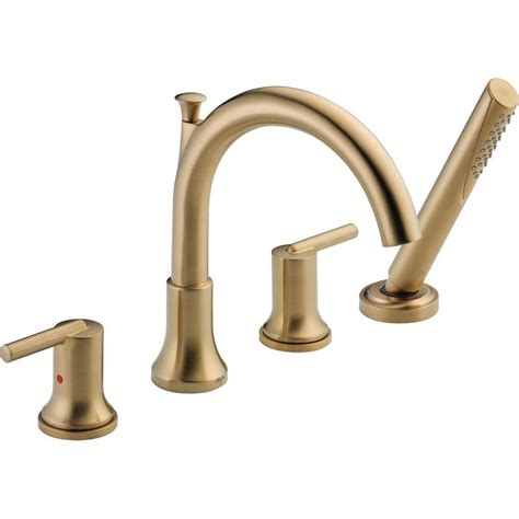 delta trinsic 2 handle deck mount roman tub faucet trim