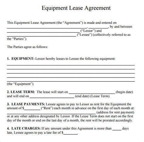 equipment rental agreement templates sample templates