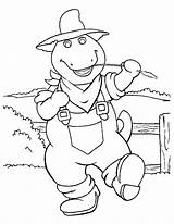 Coloring Farmer Pages Barney sketch template