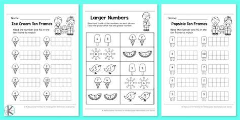 summer kindergarten worksheets  practice math