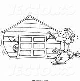 Garage Cartoon Coloring Drawing Overflowing Outlined Toonaday Vecto Rs Leishman Ron sketch template