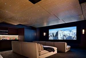 Cinema room home theater contemporary with black throw ...