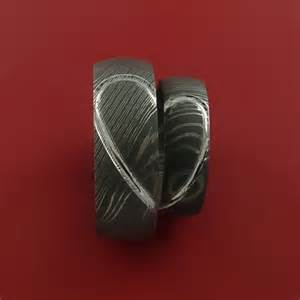 steel wedding rings matching damascus steel carved ring set wedding bands metal evolution jewelry on artfire
