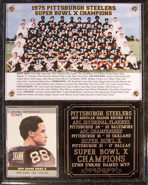 1975 Pittsburgh Steelers Super Bowl X Champions Photo Card