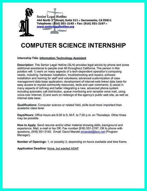 internship resume computer science sle easy high school
