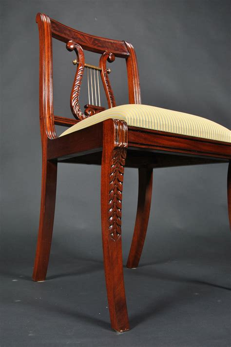 Mahogany Harp Back Chairs by Lyre Back Dining Room Chairs Solid Mahogany Schmieg