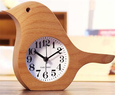 wooden bird shaped desk alarm clock feelgift