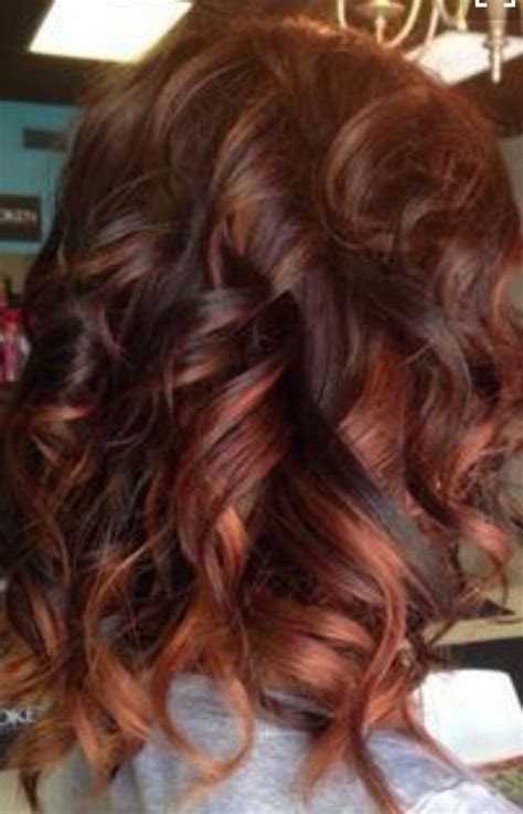 brunette  red highlights naturals red hair color
