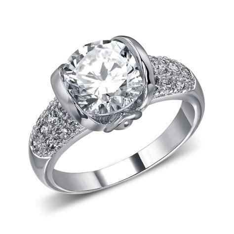 cubic zircon ring silver white round cut cubic zircon