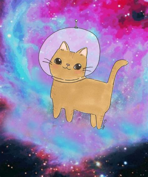 astronaut cat illustration space kitty cute kawaii galaxy