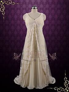Regency style lace wedding dress with empire waist amiee for Empire style wedding dress