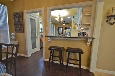 farmhouse kitchen with pass through breakfast bar   Google