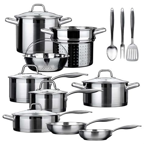 cookware pans gas pots stove induction ssib duxtop stainless professional steel pieces