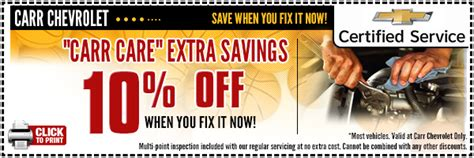 10% Off Recommended Chevrolet Service Special Carr