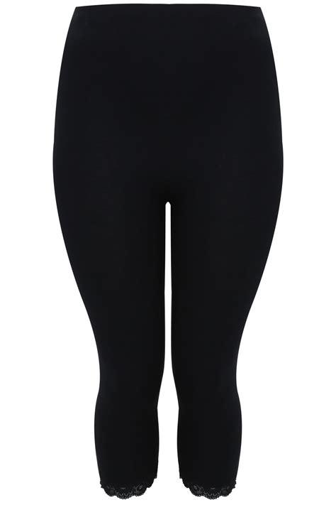 Image Source Finder Black Cotton Essential Crop Legging With Lace Trim Plus
