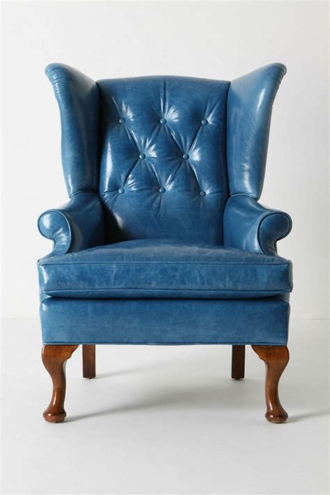 blue leather wingback chair from anthropologie from colo