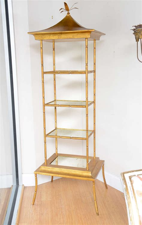 Pagoda Etagere by Gilded Metal Pagoda Style Etagere At 1stdibs
