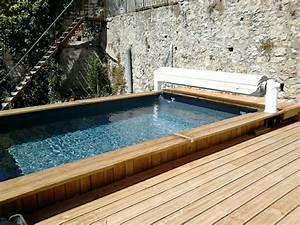 Piscine Bois Semi Enterrée : piscine bois semi enterr e bluewood avec volet roulant ~ Melissatoandfro.com Idées de Décoration