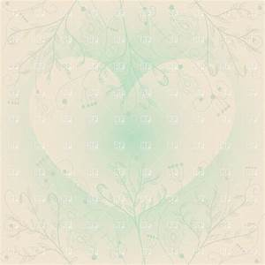 Vintage pastel background with heart and floral twigs ...