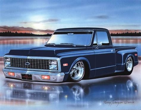 1971 72 chevy c10 stepside pickup classic truck art print 11x14 poster parry johnson art