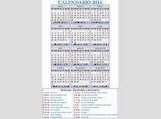 2016 Calendario laboral Download 2019 Calendar Printable