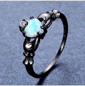 United States Ring Size Chart Black Gold And Fire Opal Claddagh Ring Rebelsmarket