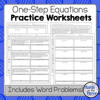 One Step Equation Worksheets M Find Math One Best Free Printable Worksheets