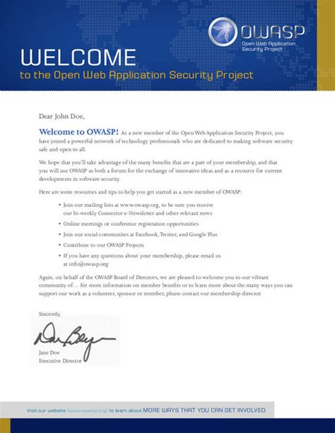 membership new member welcome letter marketing resources owasp 73739