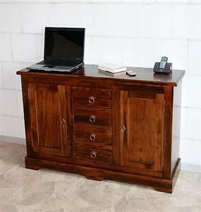 Kommode 2 M Lang : kommode 120x81x38cm 2 t ren 4 schubladen pappel massiv nussbaumfarben lackiert ~ Bigdaddyawards.com Haus und Dekorationen
