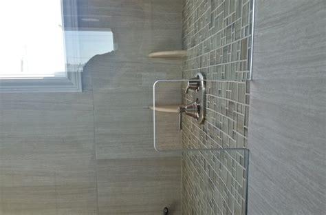 glass shower wall cutout eclectic bathroom  york