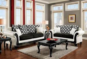 Dolphy, Black, And, White, Leatherette, Living, Room, Set, From, Furniture, Of, America, Sm7600