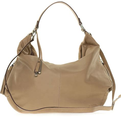 Cromia Italian Made Beige Leather Large Slouchy Hobo Bag